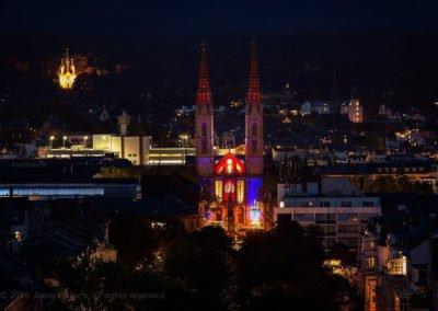 Bonifatiuskirche vom Dach des Motel One
